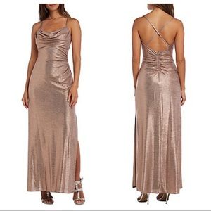 Nightway Rose Gold Shimmer Cowl Neck Dress Gown